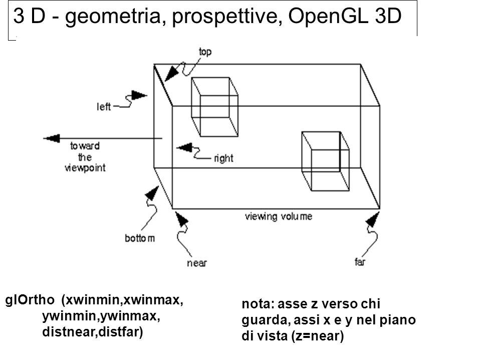 3 D - geometria, prospettive, OpenGL 3D