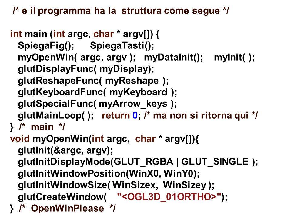 /* e il programma ha la struttura come segue */