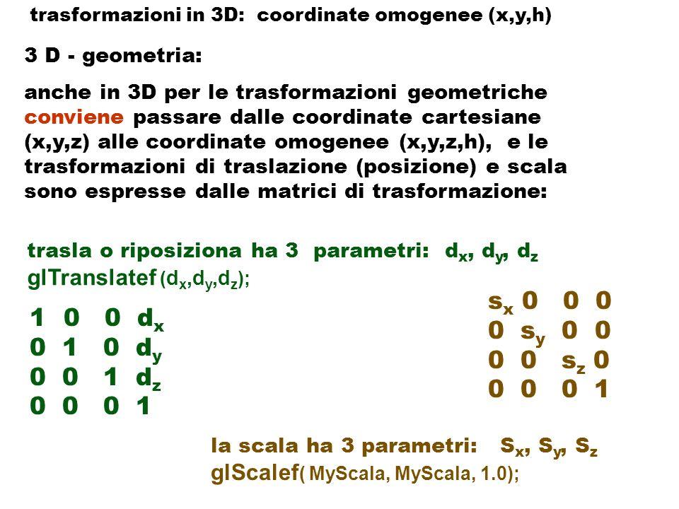 trasformazioni in 3D: coordinate omogenee (x,y,h)