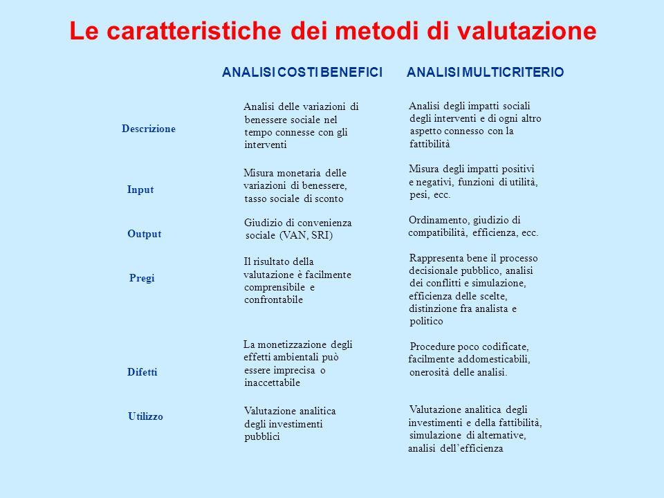 Le caratteristiche dei metodi di valutazione