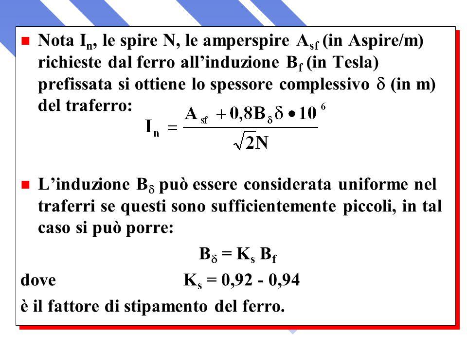 Nota In, le spire N, le amperspire Asf (in Aspire/m) richieste dal ferro all'induzione Bf (in Tesla) prefissata si ottiene lo spessore complessivo (in m) del traferro: