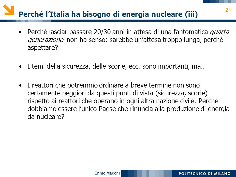 Perché l'Italia ha bisogno di energia nucleare (iii)