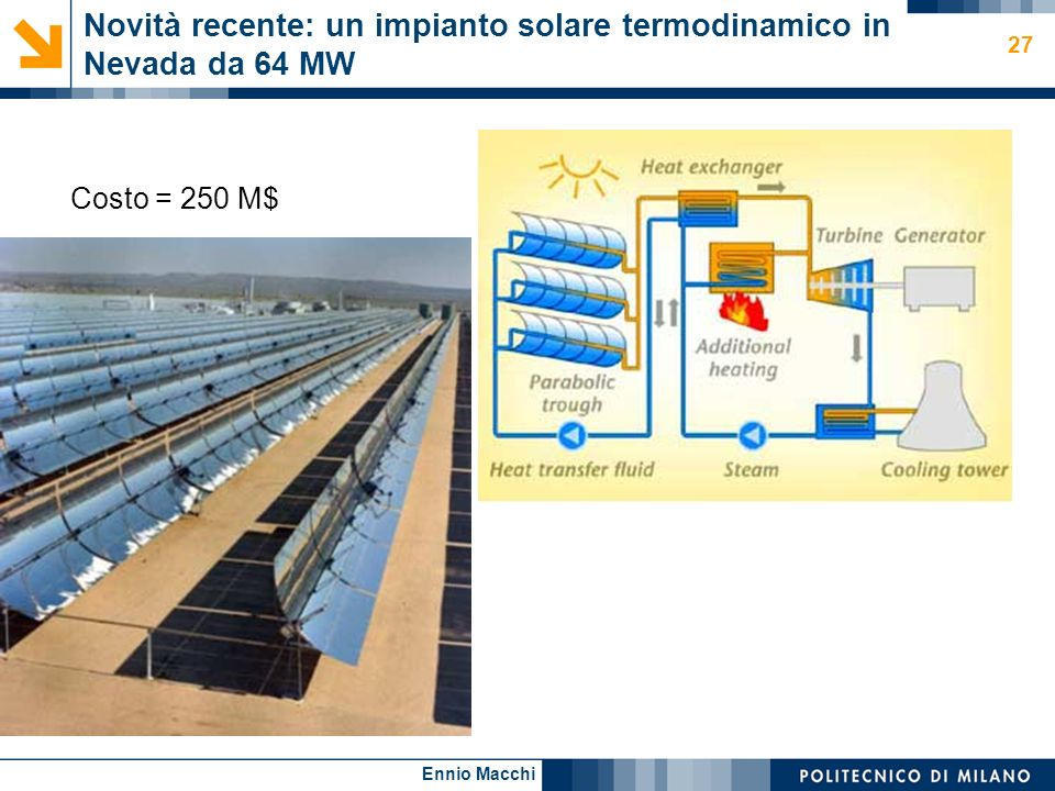 Novità recente: un impianto solare termodinamico in Nevada da 64 MW