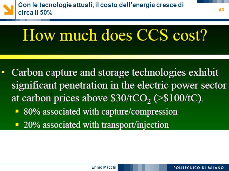Con le tecnologie attuali, il costo dell'energia cresce di circa il 50%