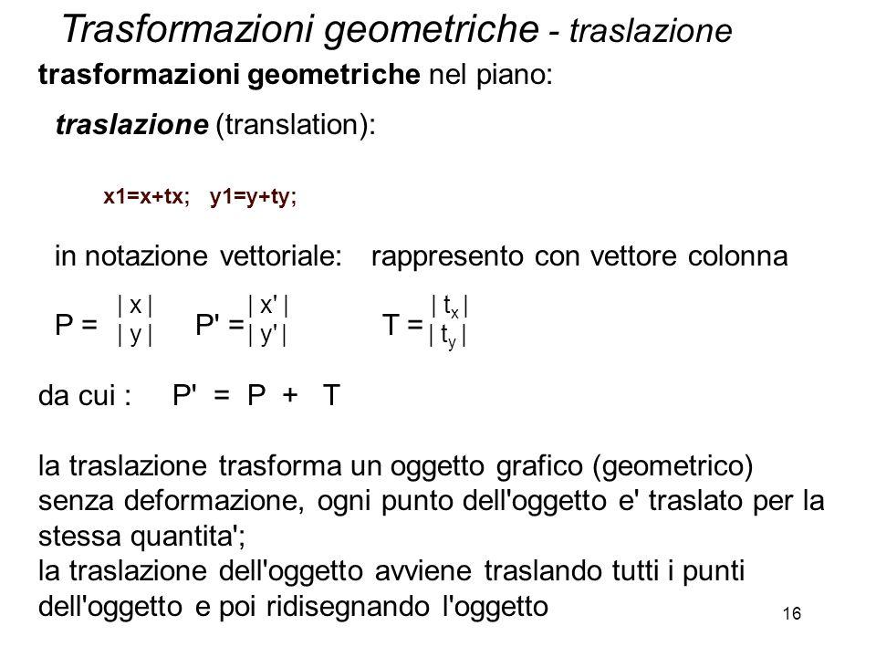 Trasformazioni geometriche - traslazione
