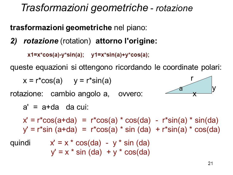Trasformazioni geometriche - rotazione