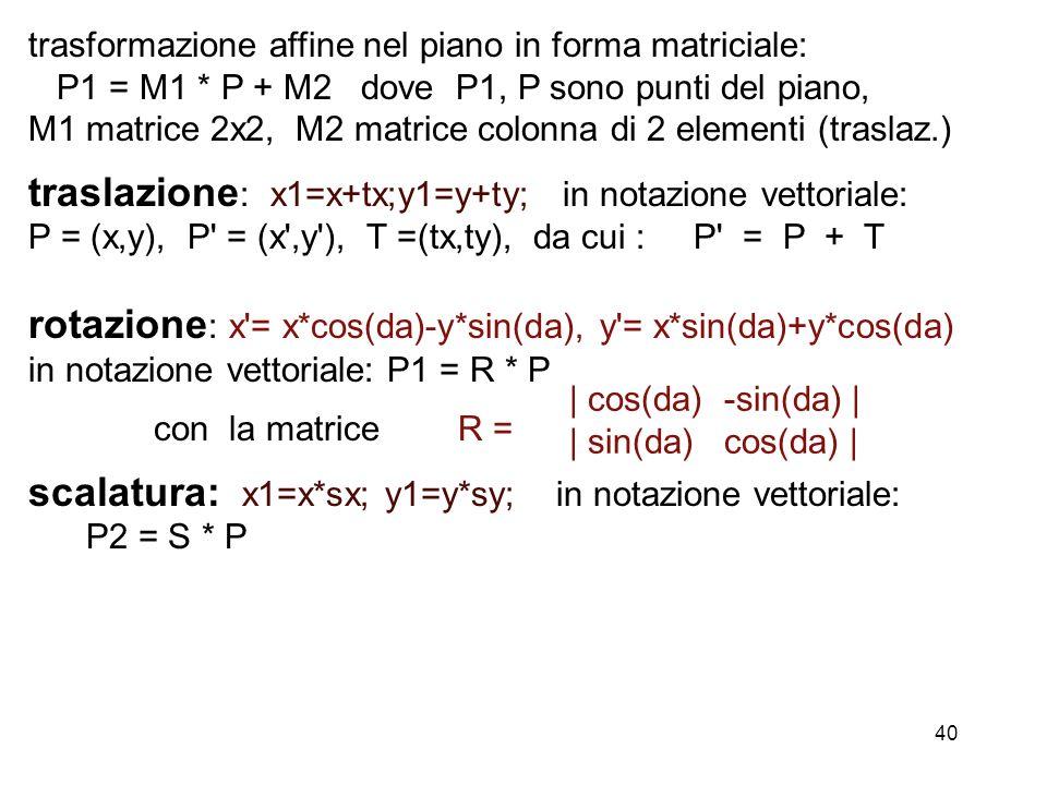 traslazione: x1=x+tx;y1=y+ty; in notazione vettoriale: