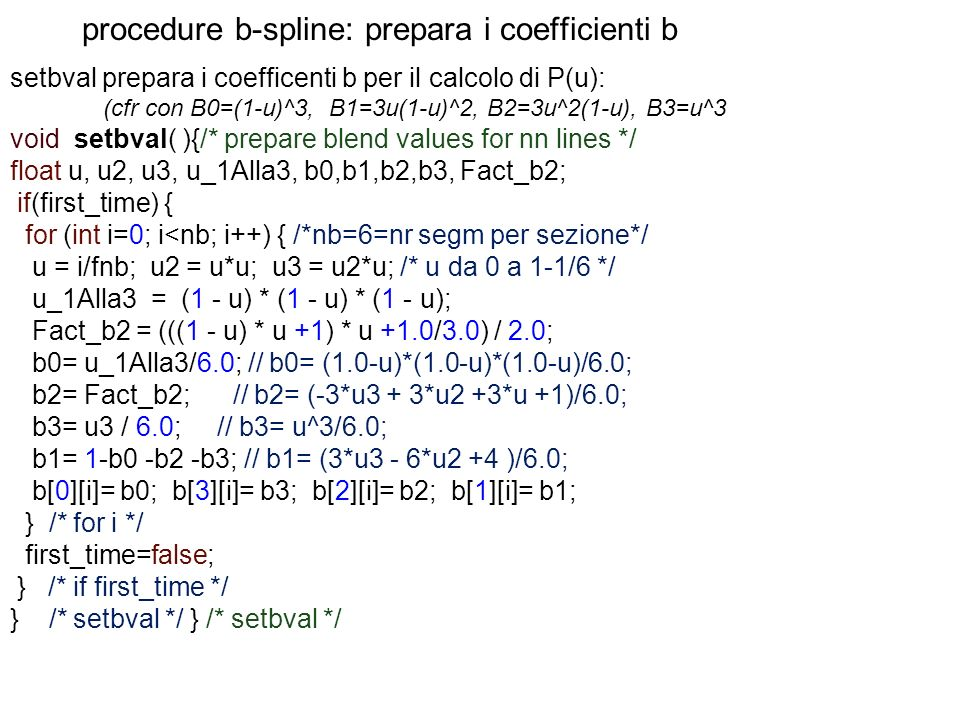 procedure b-spline: prepara i coefficienti b