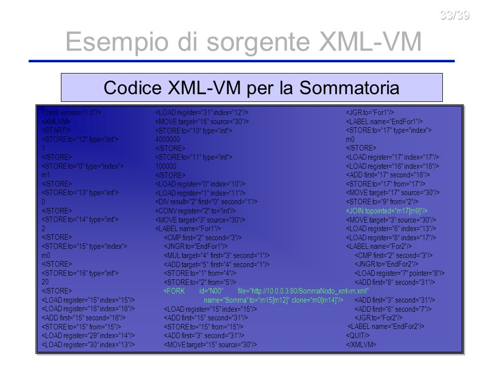 Esempio di sorgente XML-VM