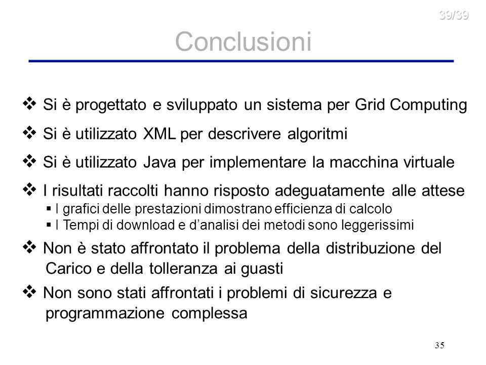 Conclusioni Si è progettato e sviluppato un sistema per Grid Computing
