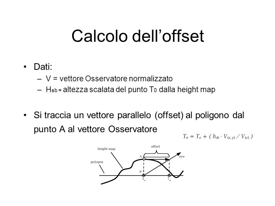 Calcolo dell'offset Dati:
