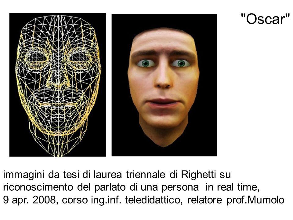 Oscar immagini da tesi di laurea triennale di Righetti su riconoscimento del parlato di una persona in real time,