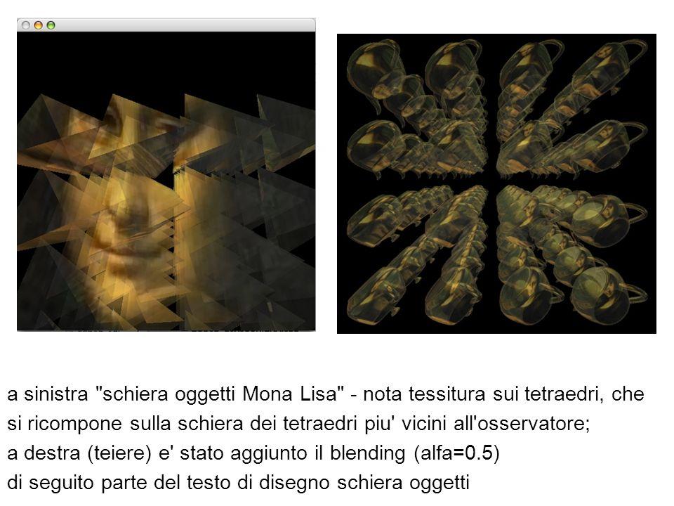 a sinistra schiera oggetti Mona Lisa - nota tessitura sui tetraedri, che