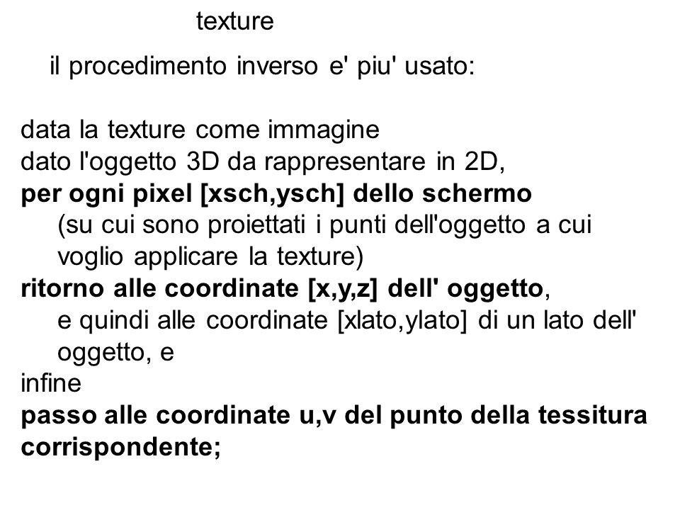 texture il procedimento inverso e piu usato: data la texture come immagine. dato l oggetto 3D da rappresentare in 2D,