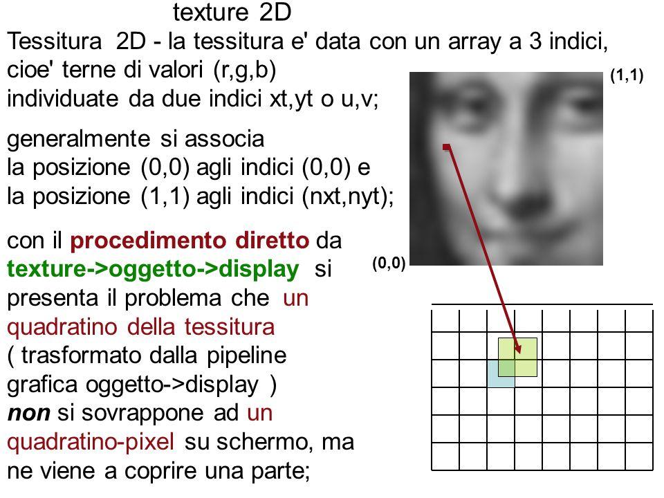 texture 2D Tessitura 2D - la tessitura e data con un array a 3 indici, cioe terne di valori (r,g,b)