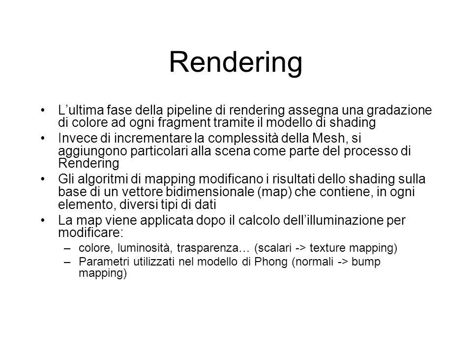 Rendering L'ultima fase della pipeline di rendering assegna una gradazione di colore ad ogni fragment tramite il modello di shading.