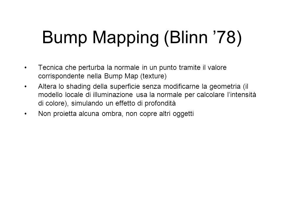 Bump Mapping (Blinn '78) Tecnica che perturba la normale in un punto tramite il valore corrispondente nella Bump Map (texture)