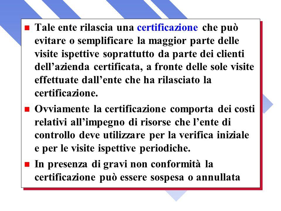Tale ente rilascia una certificazione che può evitare o semplificare la maggior parte delle visite ispettive soprattutto da parte dei clienti dell'azienda certificata, a fronte delle sole visite effettuate dall'ente che ha rilasciato la certificazione.