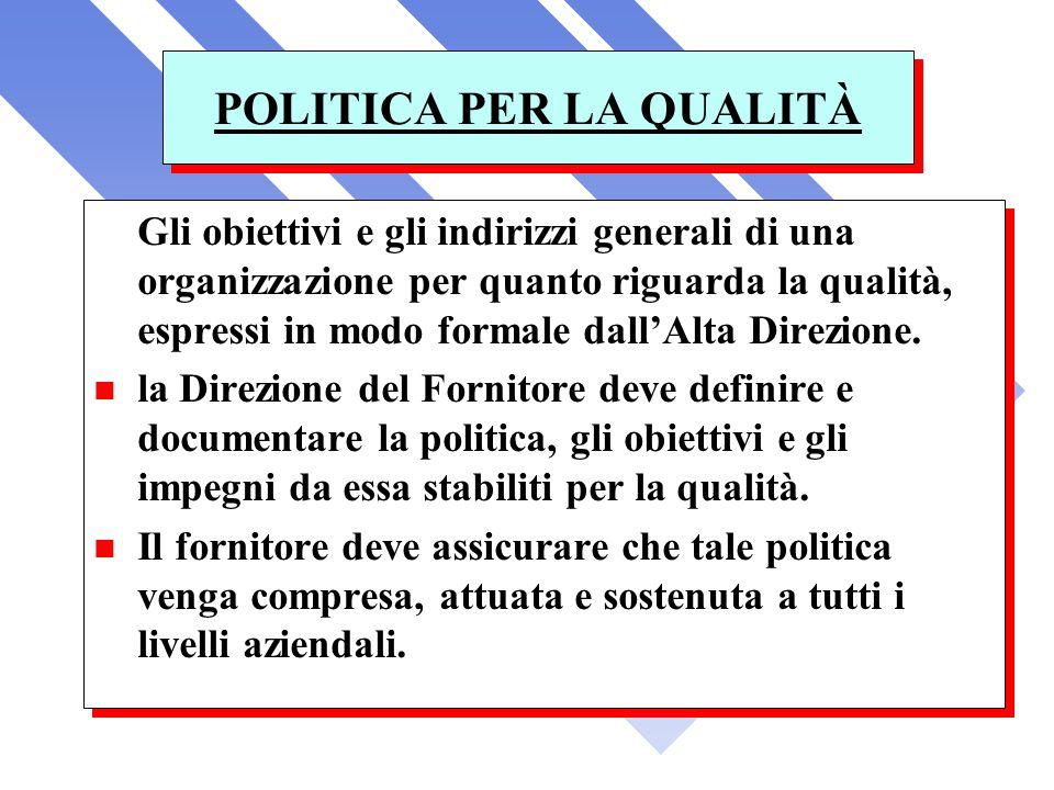 POLITICA PER LA QUALITÀ