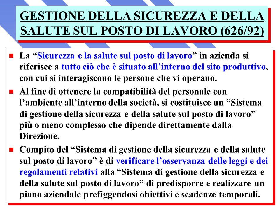 GESTIONE DELLA SICUREZZA E DELLA SALUTE SUL POSTO DI LAVORO (626/92)