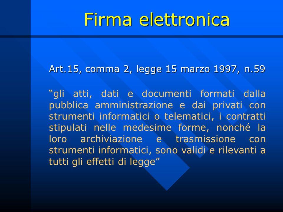Firma elettronica Art.15, comma 2, legge 15 marzo 1997, n.59