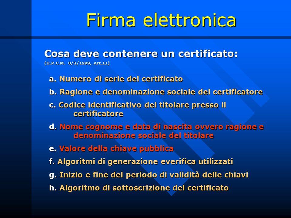 Firma elettronica Cosa deve contenere un certificato:
