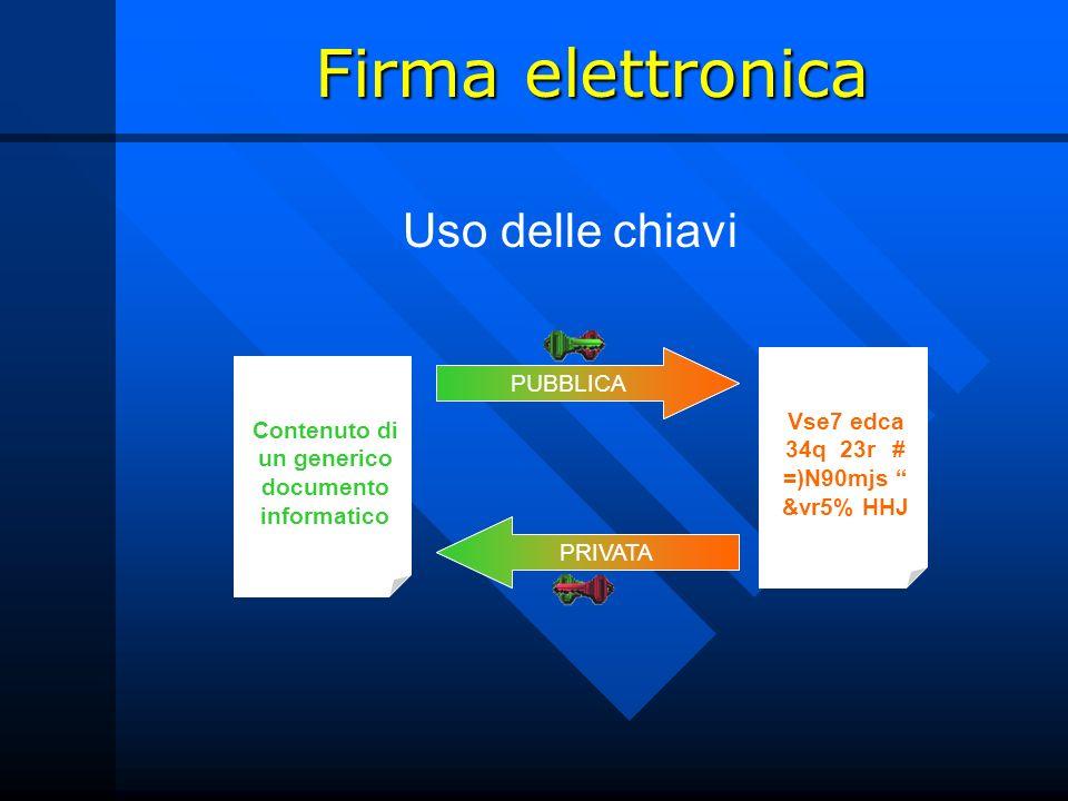 Firma elettronica Uso delle chiavi PUBBLICA PRIVATA PRIVATA