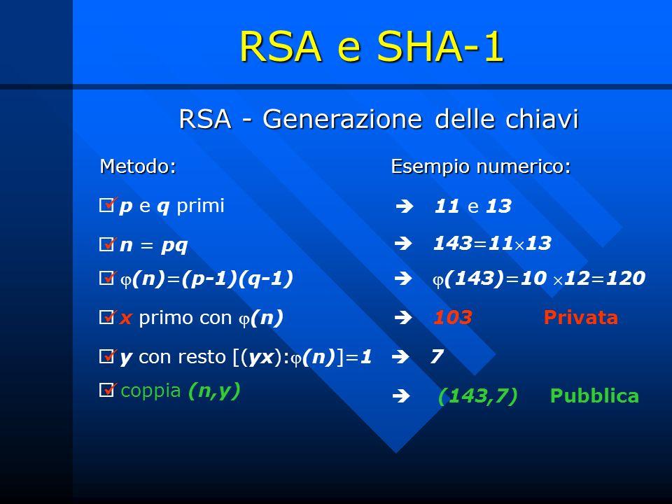 RSA - Generazione delle chiavi