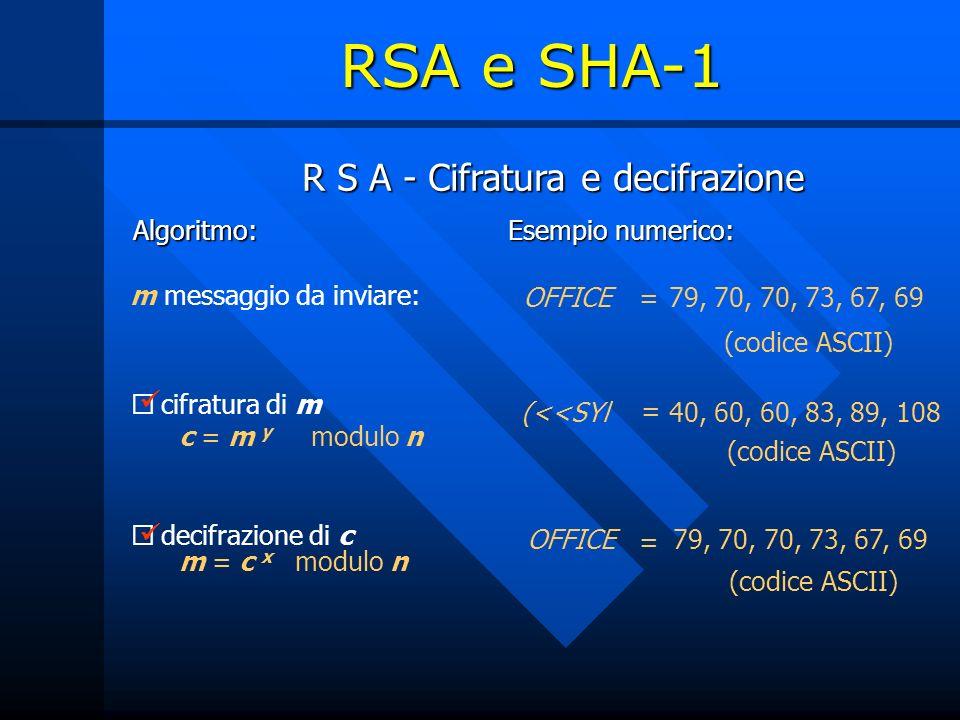 R S A - Cifratura e decifrazione