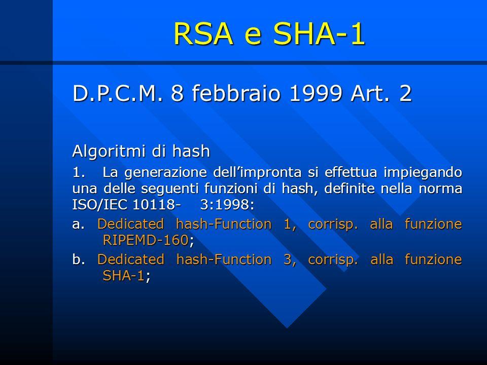 RSA e SHA-1 D.P.C.M. 8 febbraio 1999 Art. 2 Algoritmi di hash