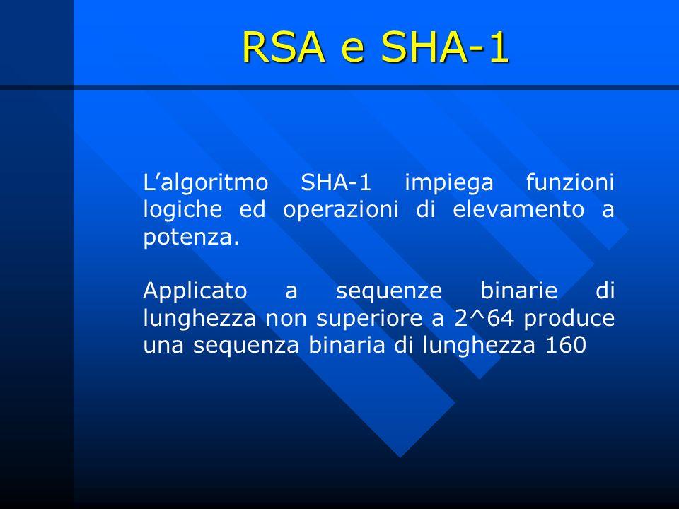 RSA e SHA-1 L'algoritmo SHA-1 impiega funzioni logiche ed operazioni di elevamento a potenza.