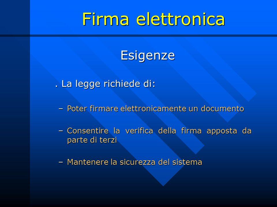 Firma elettronica Esigenze . La legge richiede di: