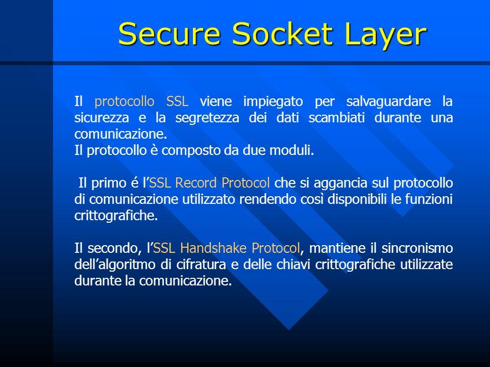 Secure Socket Layer Il protocollo SSL viene impiegato per salvaguardare la sicurezza e la segretezza dei dati scambiati durante una comunicazione.