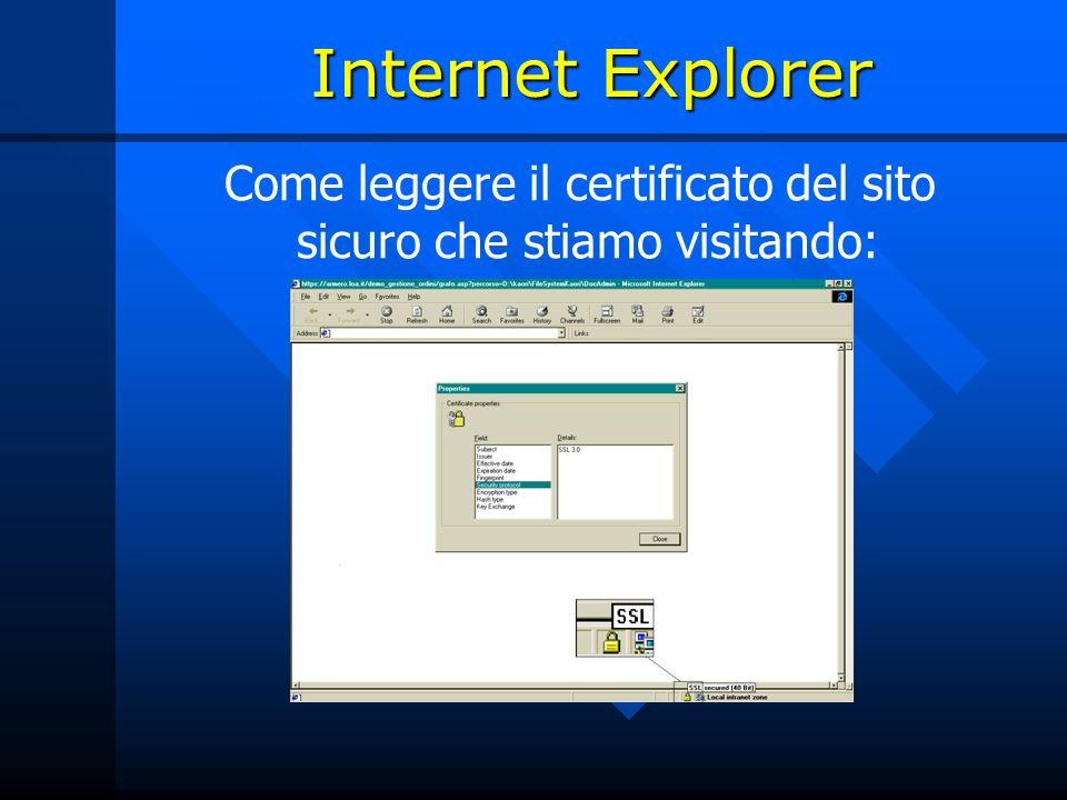 Internet Explorer Come leggere il certificato del sito