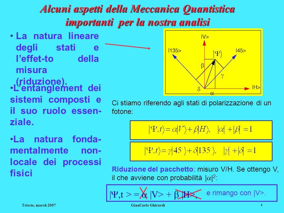 Alcuni aspetti della Meccanica Quantistica importanti per la nostra analisi