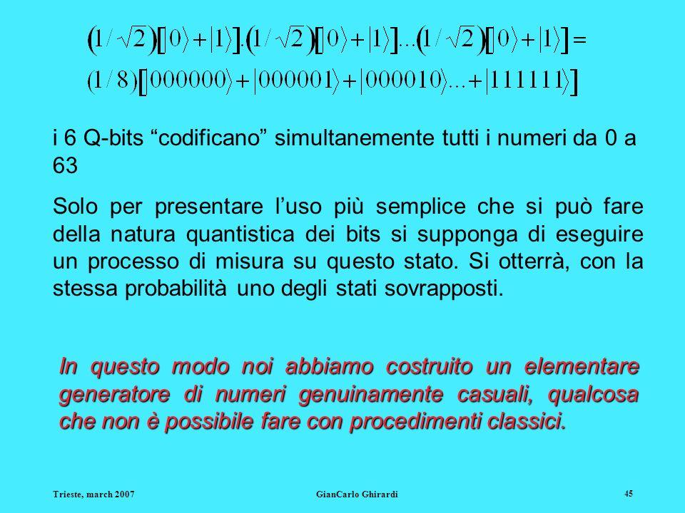 i 6 Q-bits codificano simultanemente tutti i numeri da 0 a 63
