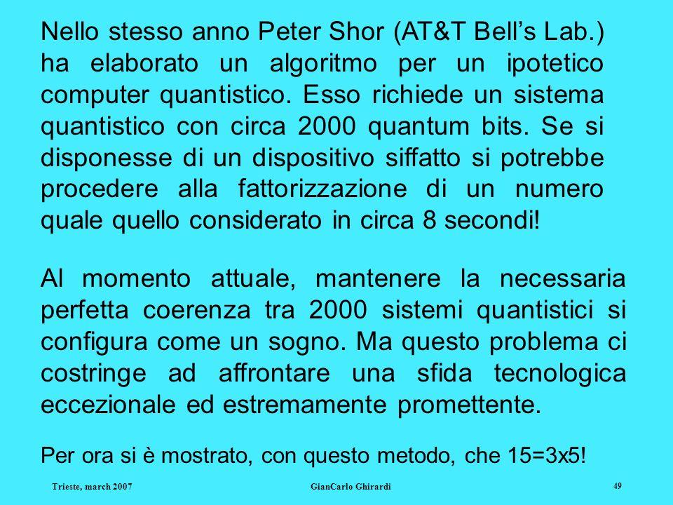 Nello stesso anno Peter Shor (AT&T Bell's Lab