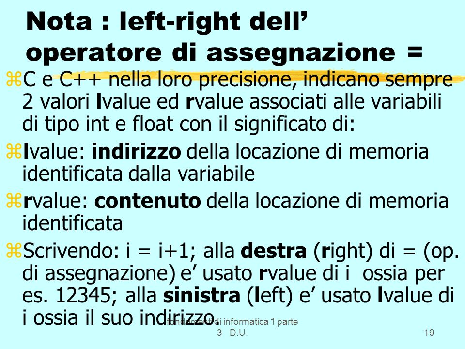 Nota : left-right dell' operatore di assegnazione =