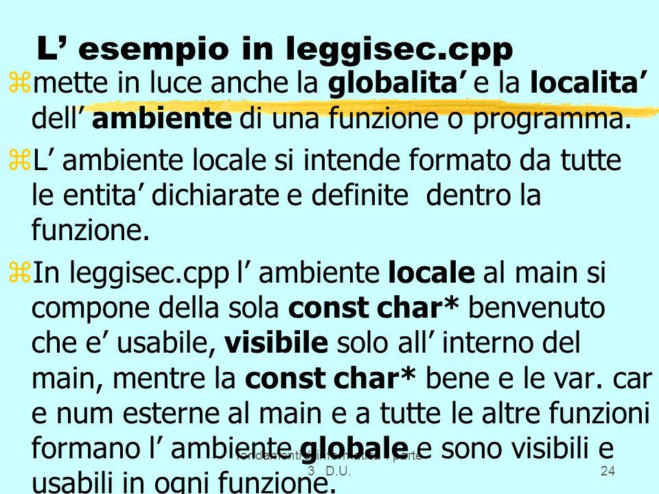 L' esempio in leggisec.cpp