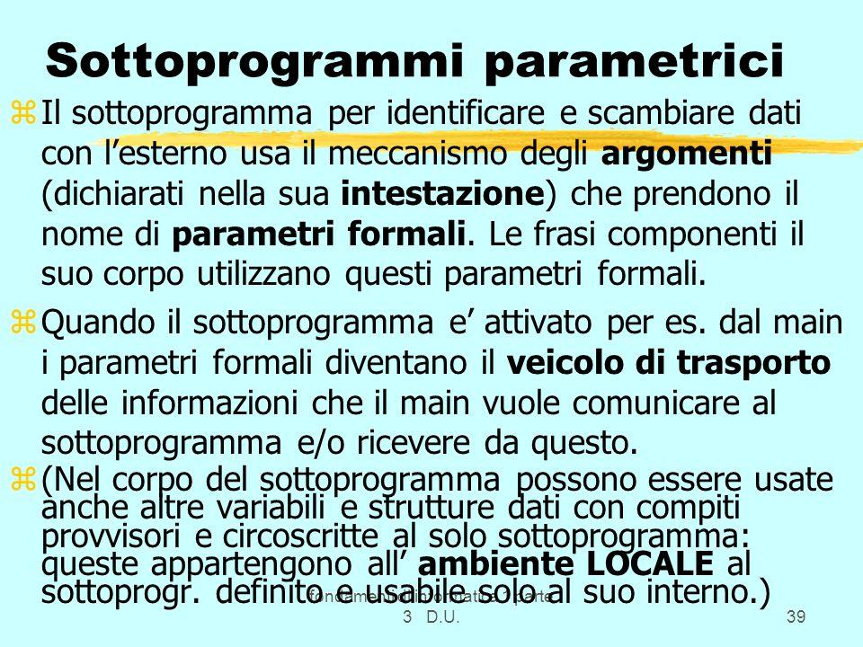 Sottoprogrammi parametrici