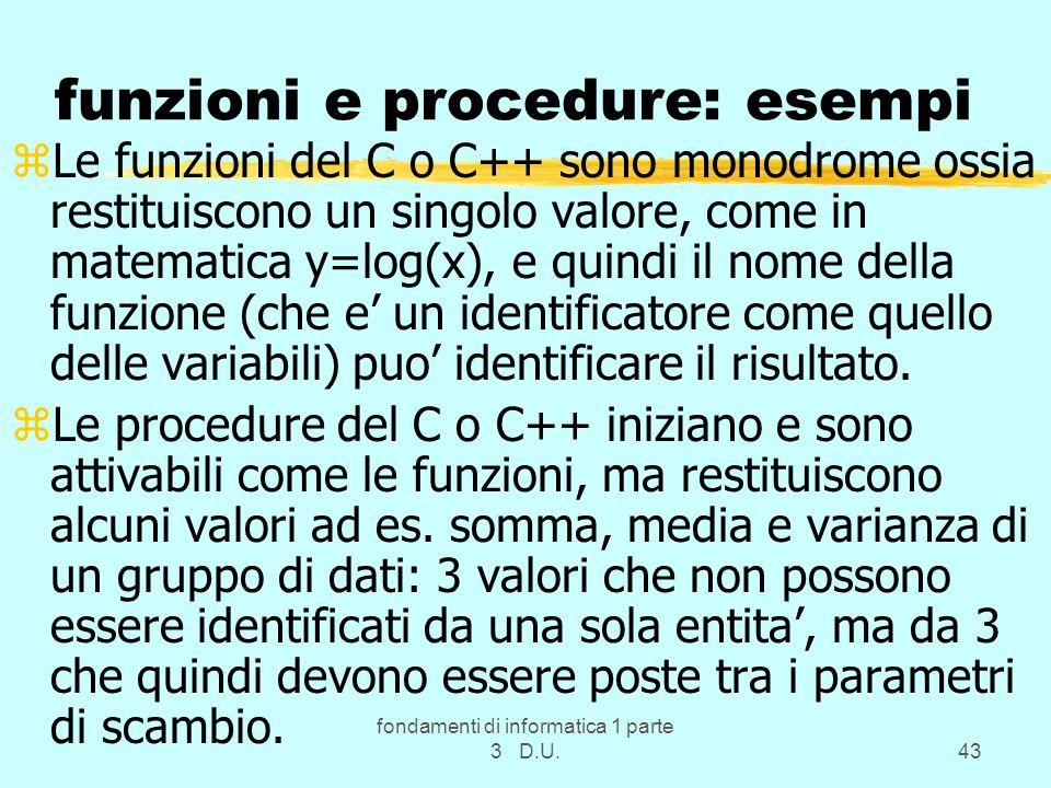 funzioni e procedure: esempi