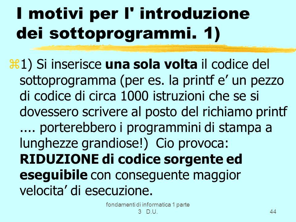 I motivi per l introduzione dei sottoprogrammi. 1)