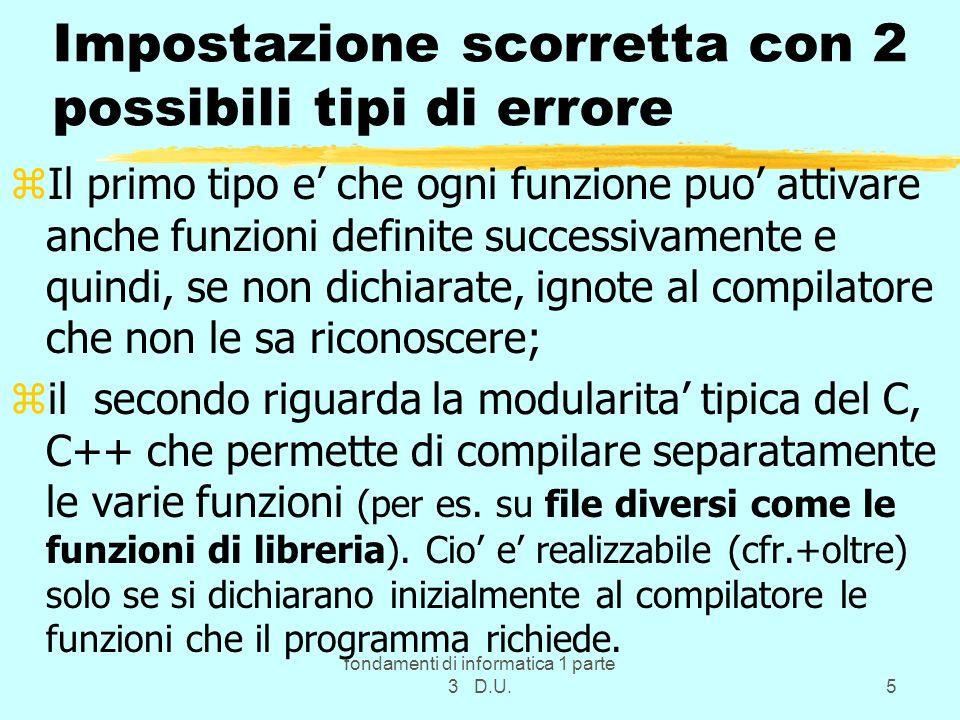 Impostazione scorretta con 2 possibili tipi di errore
