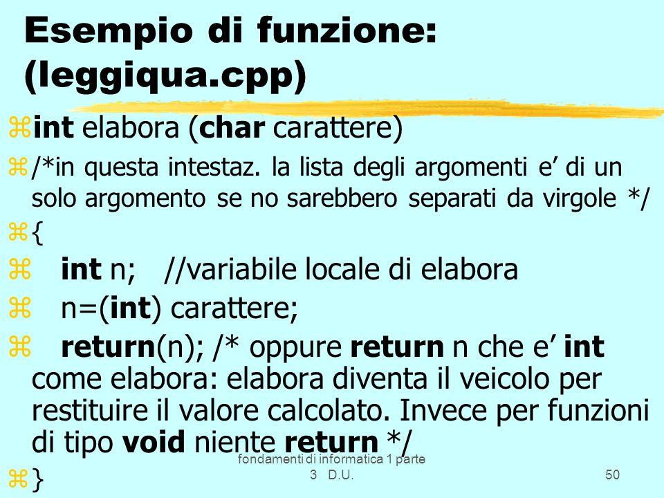 Esempio di funzione: (leggiqua.cpp)