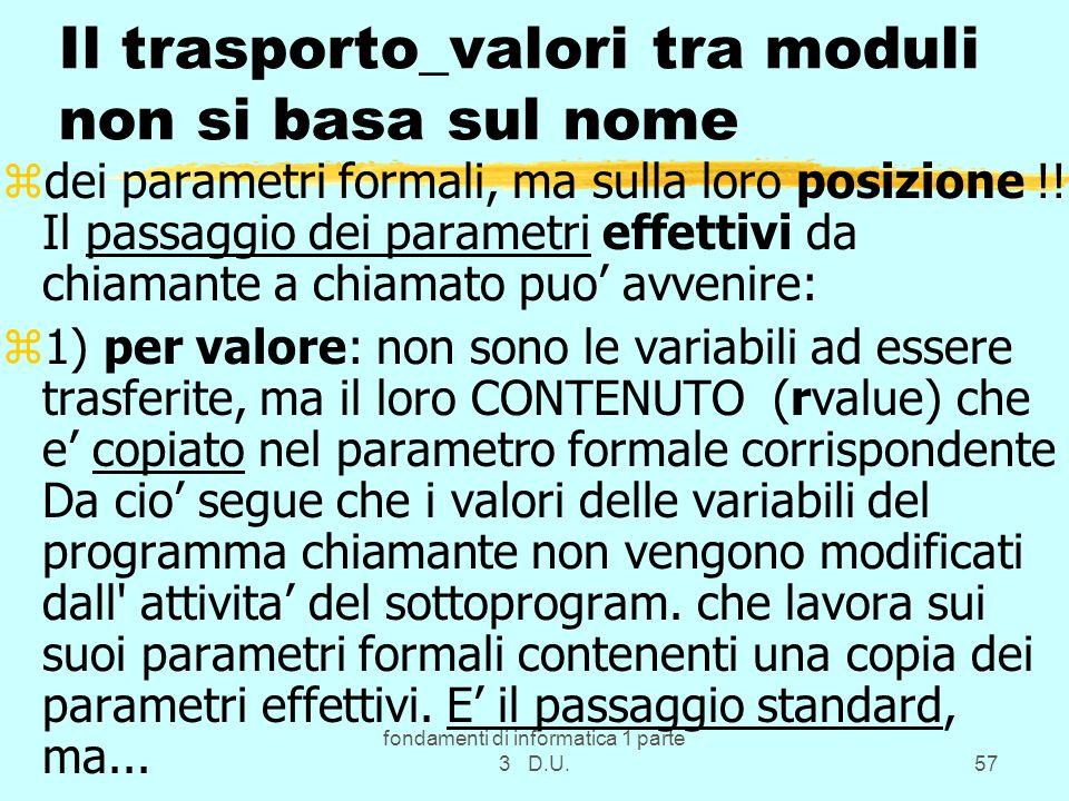 Il trasporto_valori tra moduli non si basa sul nome