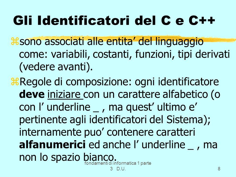 Gli Identificatori del C e C++