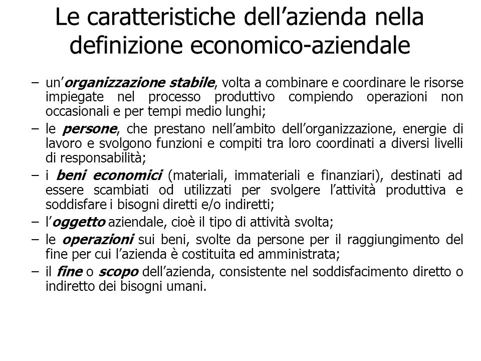 Le caratteristiche dell'azienda nella definizione economico-aziendale