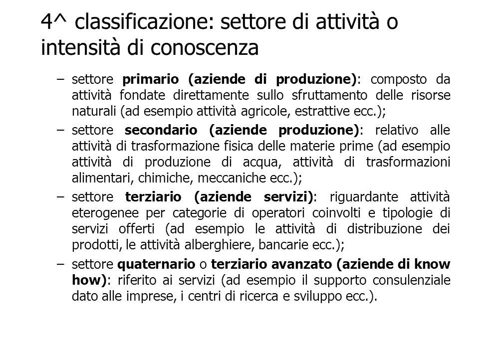 4^ classificazione: settore di attività o intensità di conoscenza