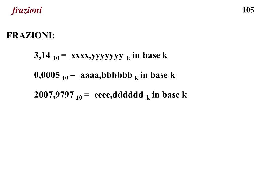 frazioni FRAZIONI: 3,14 10 = xxxx,yyyyyyy k in base k.