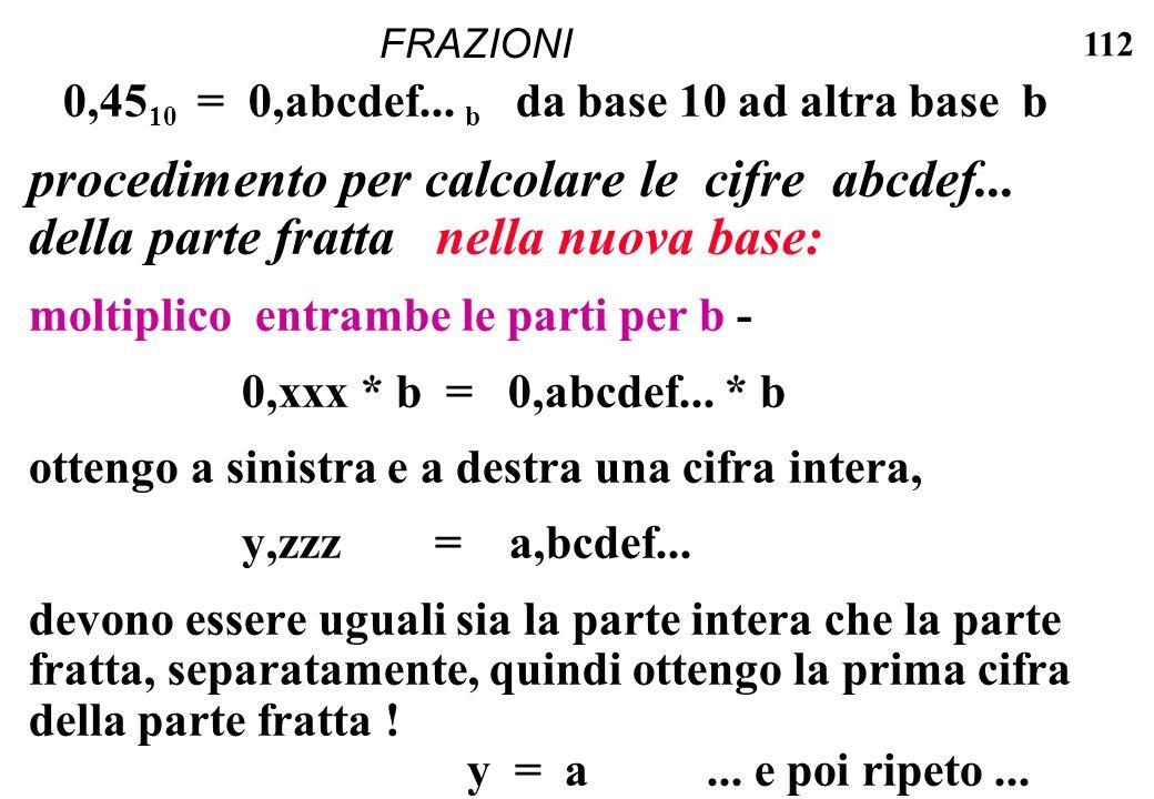 FRAZIONI 0,4510 = 0,abcdef... b da base 10 ad altra base b.